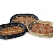 Oval Rope Trays with Acrylic Inlay