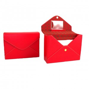 Red Leather Stationery Box With Envelopes