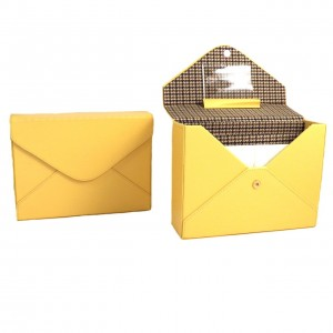 Yellow Leather Stationery Box With Envelopes