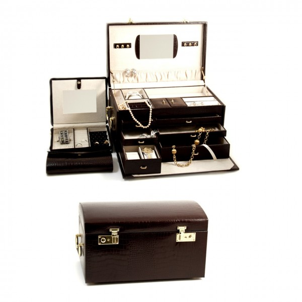"""Brown """"Croco"""" Leather Jewelry Chest With Multi Levels"""