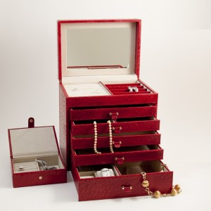 "Red ""Ostrich"" Leather Jewelry Chest With Removable Travel Case"
