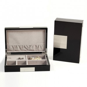 "Lacquered ""Black"" Wood Valet Box With Stainless Steel Accents And Multi Compartments Storage"