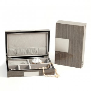 "Lacquered ""Ash"" Wood Valet Box With Stainless Steel Accents And Multi Compartments Storage"