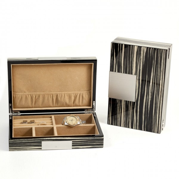 "Lacquered ""Zebra"" Wood Valet Box With Stainless Steel Accents And Multi Compartments Storage"