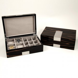 "Lacquered ""Ebony"" Burl Wood Valet Box With Stainless Steel Accents For 4 Watches & 12 Cufflink"
