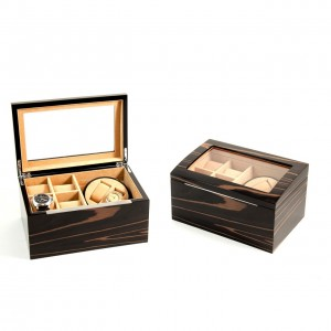 "Lacquered ""Ebony"" Burl Wood 2 Watch Winder With Storage For 4 Watches"