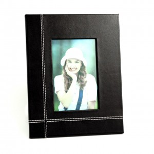 "Black Leather 4""X6"" Picture Frame With Easel Back"