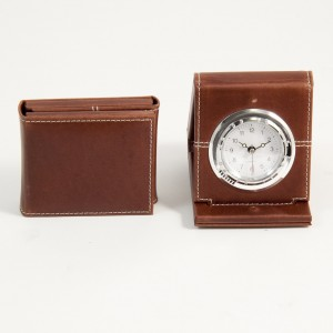 Oxford Brown Leather Foldable Quartz Alarm Clock With Chrome Accents