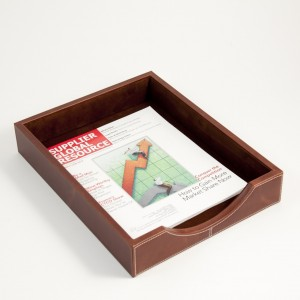 Oxford Brown Leather Letter Tray