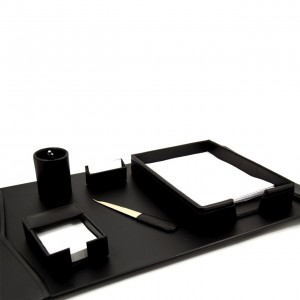 "6 Piece Black Leather Desk Set. Includes 18""X30"" Desk Pad"