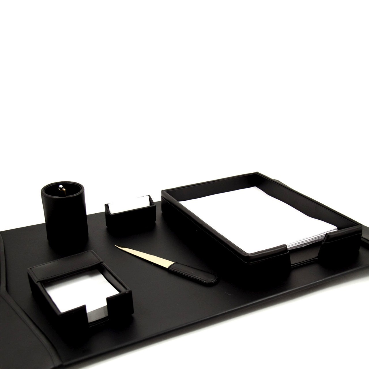 6 Piece Black Leather Desk Set Includes 18 X30 Pad