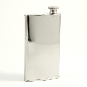4 Oz. Stainless Steel Mirror Finish Flask With Cigar Storage