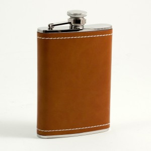 8 Oz. Stainless Steel Saddle Brown Leather & White Stitch Flask With Captive Cap And Durable Rubber Seal