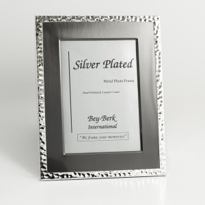 "Silver And Gunmetal Tone 8""X10"" Picture Frame With Matting And Easel Back"