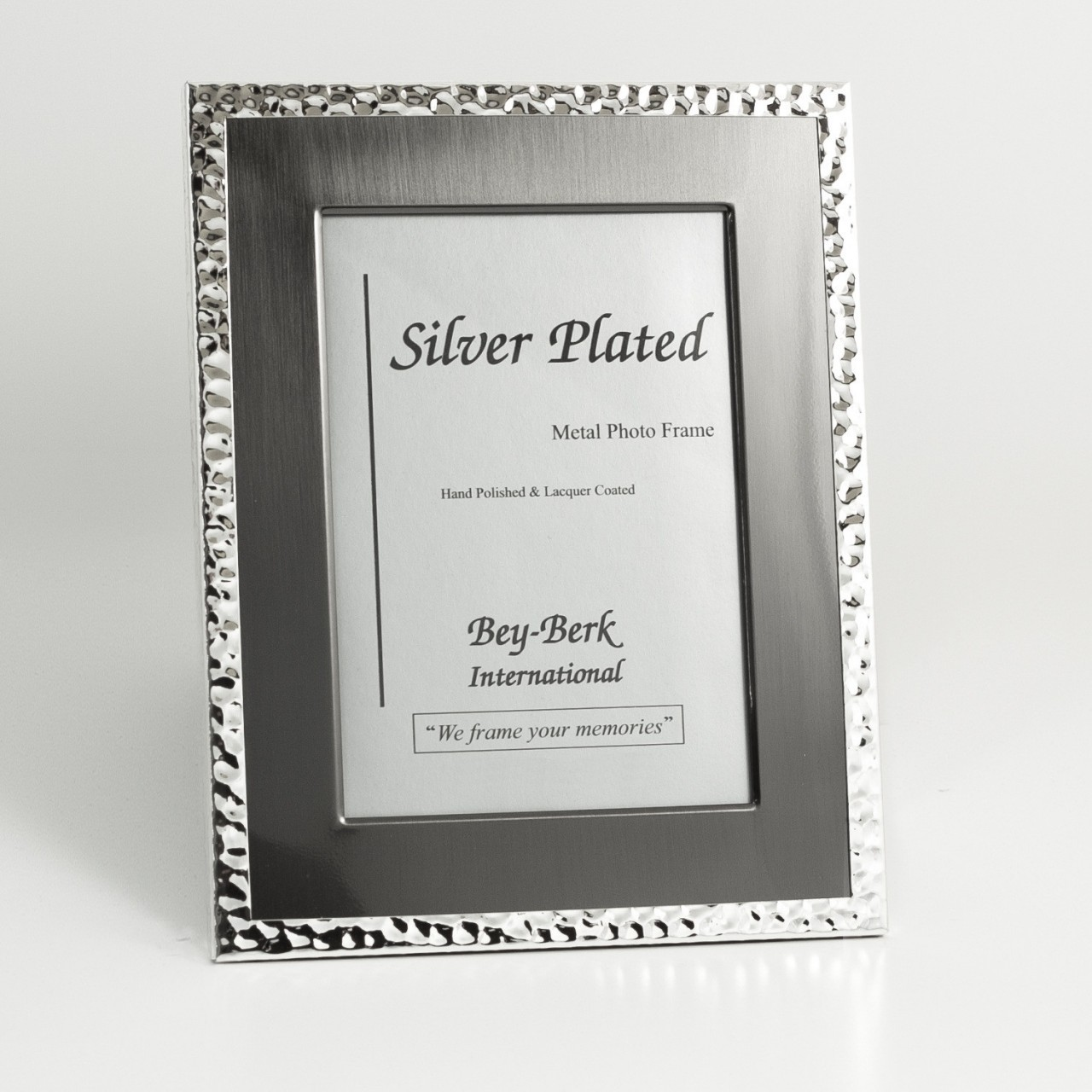 Silver And Gunmetal Tone 8x10 Picture Frame With Matting And Easel