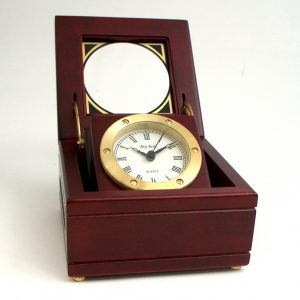 Quartz Clock In Mahogany Hinged Box With Glass Top