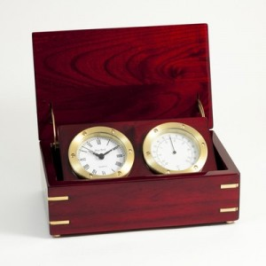 Quartz Clock And Thermometer In Lacquered Rosewood Hinged Box With Brass Accents