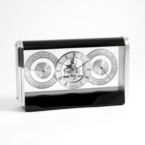 Skelton Movement Quartz Clock With Thermometer And Hygrometer On Stainless Steel And Lacquered Black Wood
