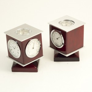 Lacquered Rosewood Weather Station With Clock
