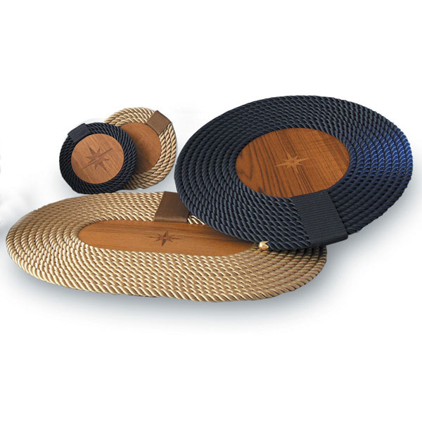 Rope and Teak  Coaster Set