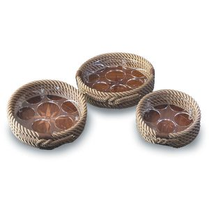Round Rope and Teak Drink Trays
