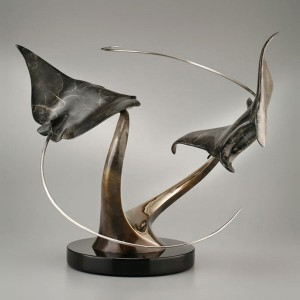 Kona Night Dive Bronze Sculpture by Dale Evers at IK Yacht Design
