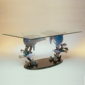 Cast Bronze Dolphin Dining Table with beveled Glass Top by Dale Evers at IK Yacht Design Showrrom