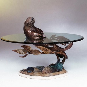 Sea Otter Bronze Sculpture Table by Dale Evers at IK Yacht Design