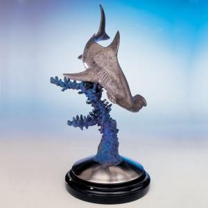 Reef Prowler Hammer Head Shark Bronze Sculpture at IK Yacht Design Showroom