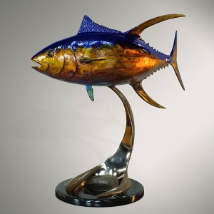 Ahi Yellowfin Tuna  Bronze sculpture by Dale Evers at IK Yacht Design