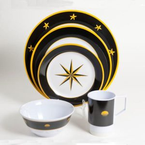 Black Compass Melamine Dishes