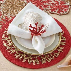 Coral Branch Napkin and Napkin Ring